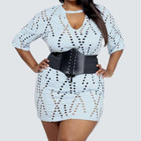 Plus Size Distressed Gauze Tunic, Baby Blue