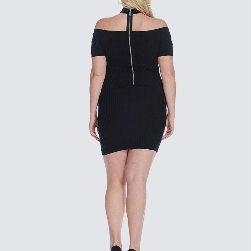 Posh Shoppe: Plus Size Ribbed Choker Mini, Black Dress