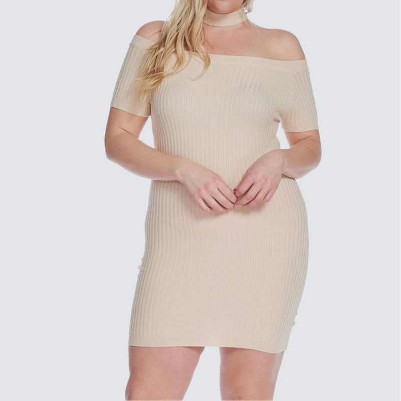 Posh Shoppe: Plus Size Ribbed Choker Mini, Nude Dress