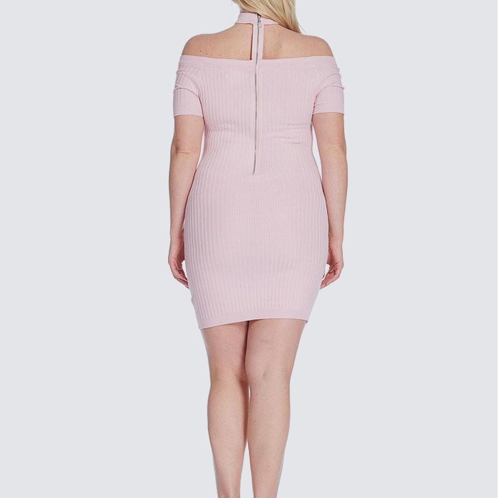 Posh Shoppe: Plus Size Ribbed Choker Mini, Rose Dress