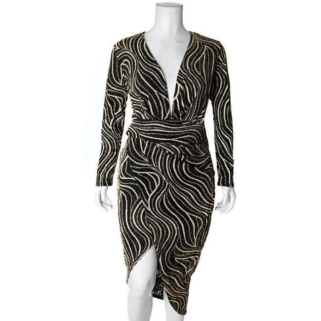 Posh Shoppe: Plus Size Bias Draped Wrap Dress, Gold Dress