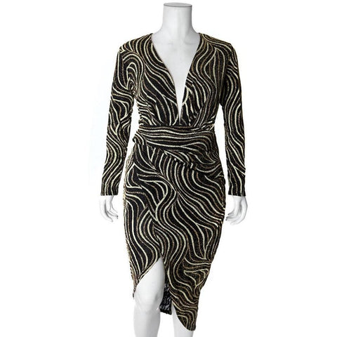 Plus Size Bias Draped Wrap Dress, Gold