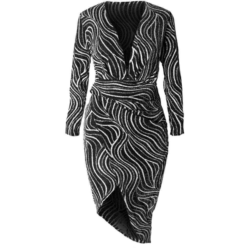 Posh Shoppe: Plus Size Bias Draped Wrap Dress, Silver Dress