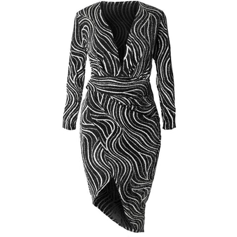 Plus Size Bias Draped Wrap Dress, Silver