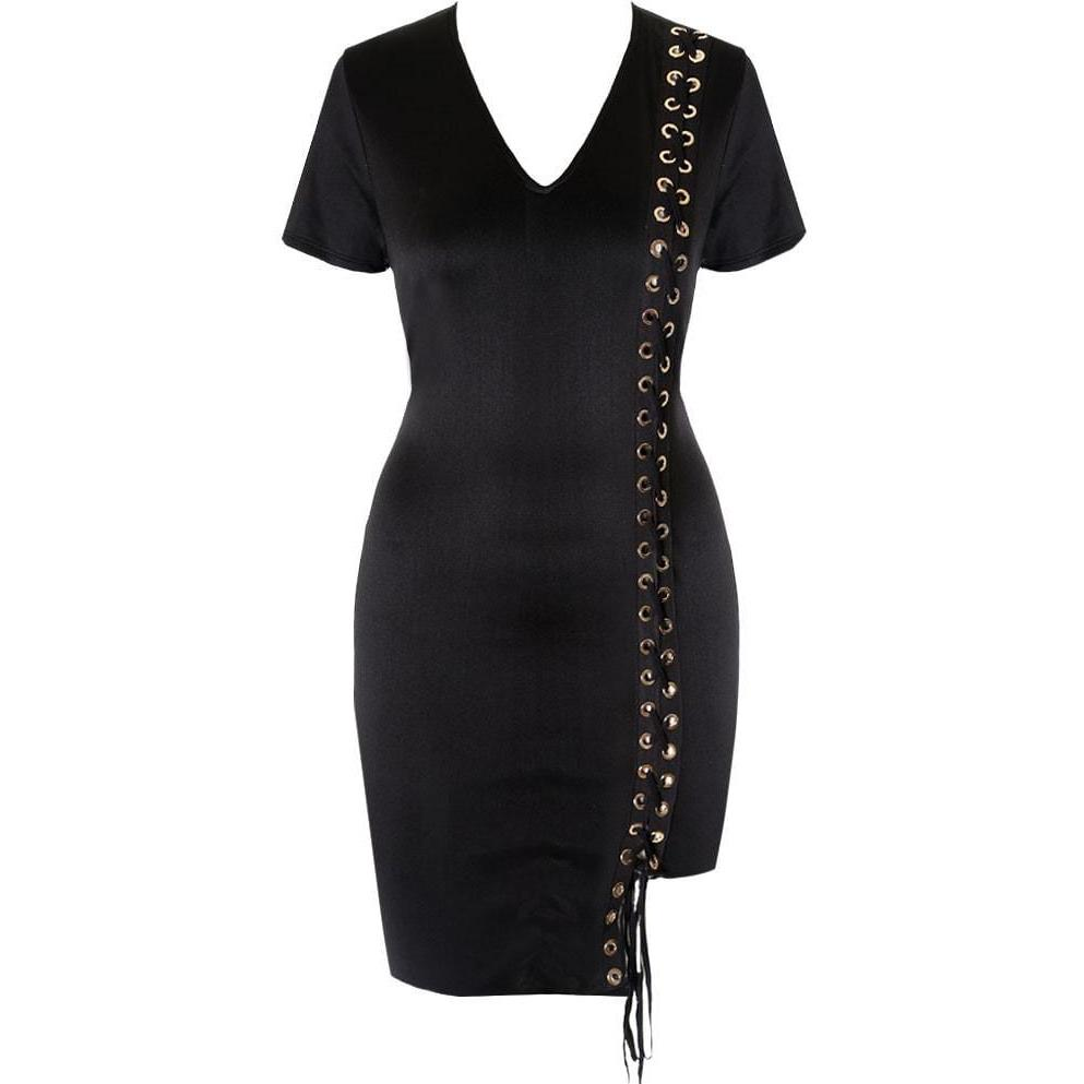 Posh Shoppe: Plus Size Lace Up Mini Dress Dress