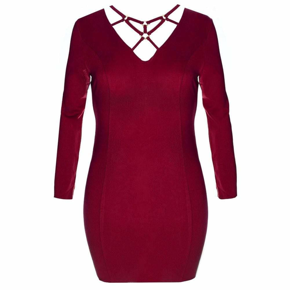 Posh Shoppe: Plus Size Gold Hardware Criss Cross Mini Dress, Red Dress