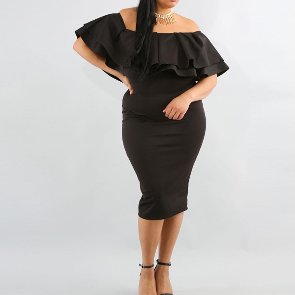 Posh Shoppe: Plus Size Off the Shoulder Ruffle Midi Dress, Black Dress