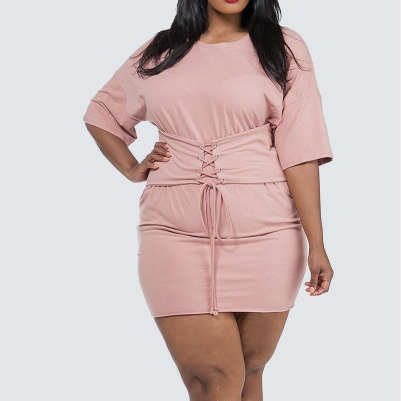 Posh Shoppe: Plus Size Cinch Waist Terry Tunic, Blush Tops