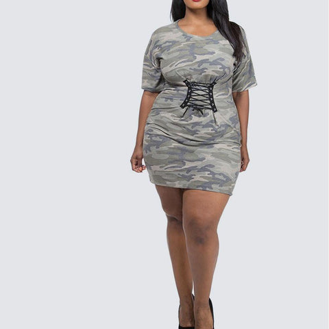 Plus Size Cinch Waist Terry Tunic, Camo Print
