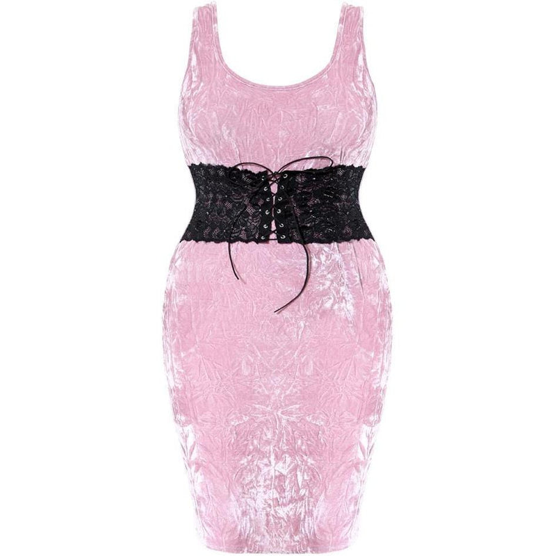 Posh Shoppe: Plus Size Corset Waist Crush Velvet Dress, Rose Dress