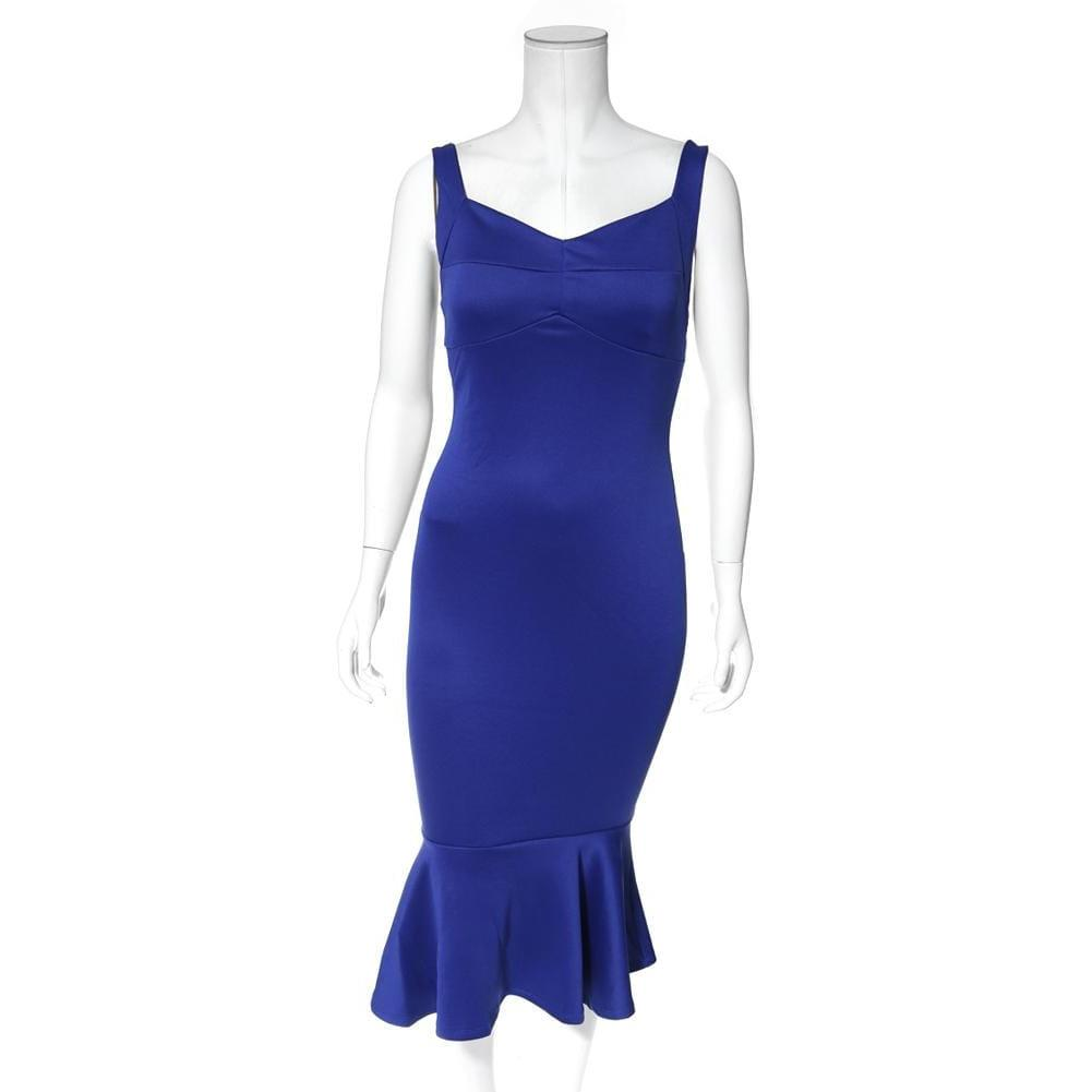 Posh Shoppe: Plus Size Sweetheart Ruffle Hem Dress, Cobalt Dress