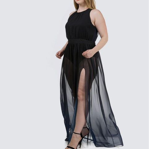 Plus Size Sheer Ombre Maxi, Navy