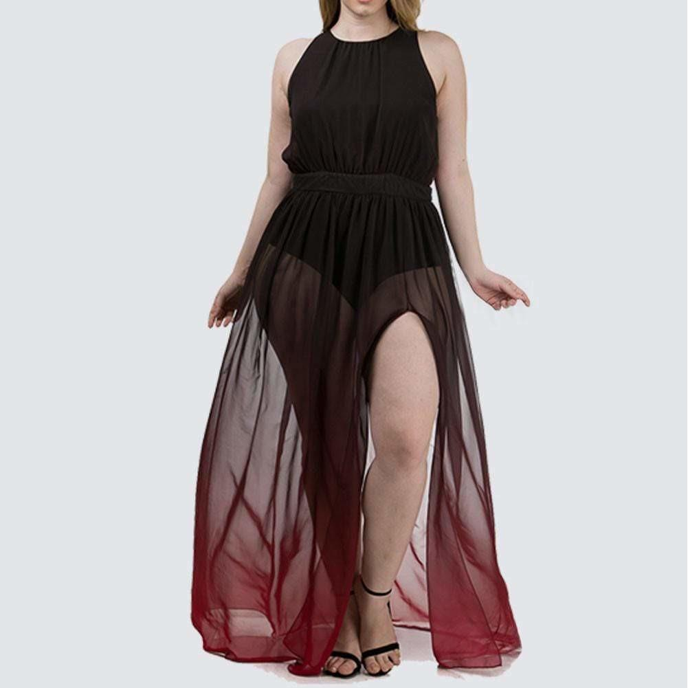 Plus Size Sheer Ombre Maxi, Burgundy