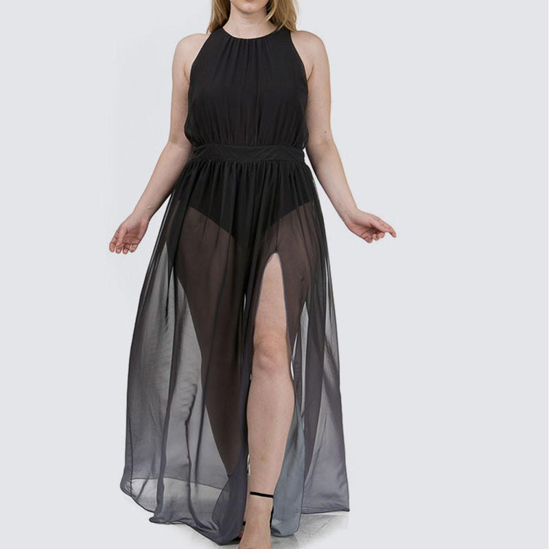 Posh Shoppe: Plus Size Sheer Ombre Maxi, Gray Dress