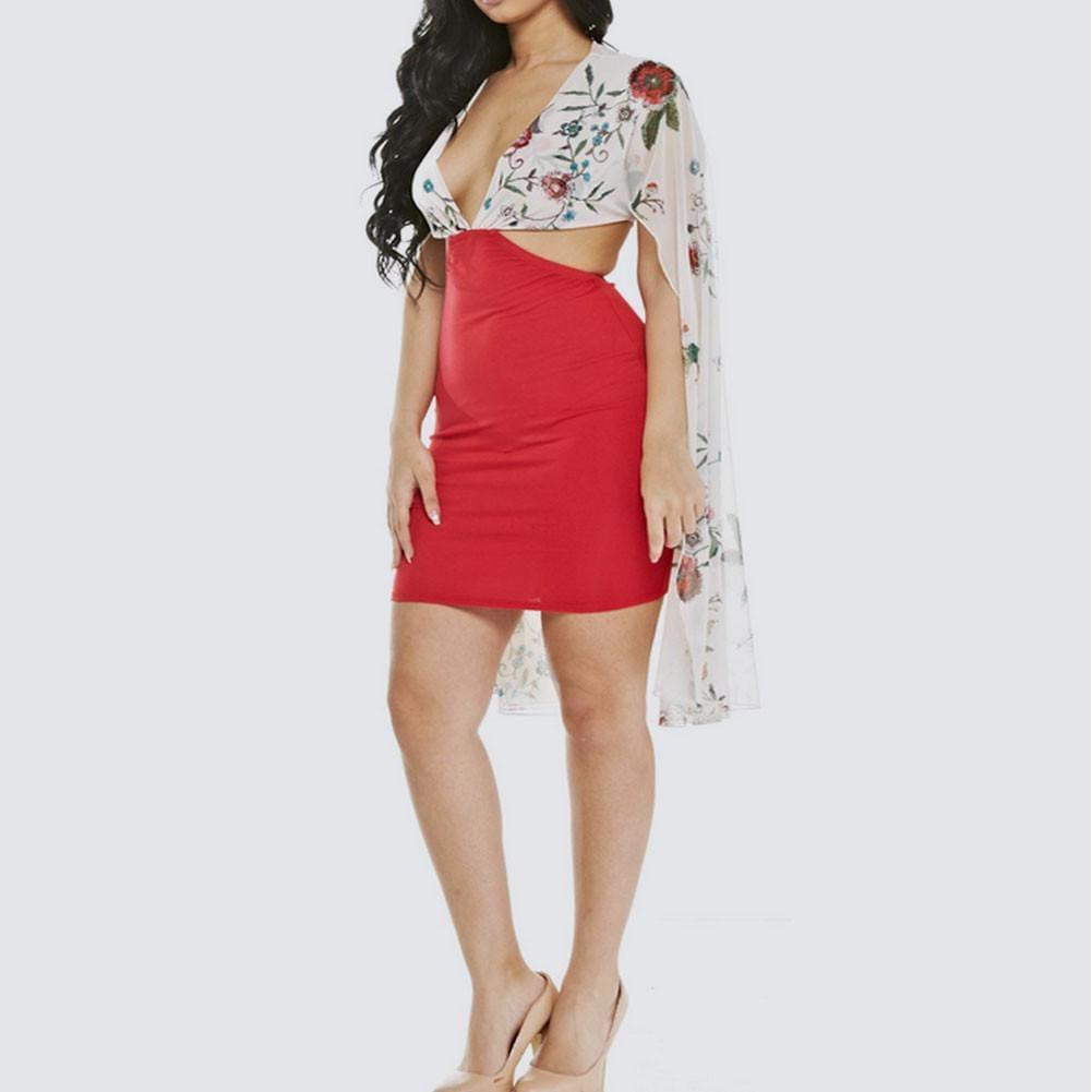 Posh Shoppe: Plus Size Embroidered Cape Dress, White and Red Dress