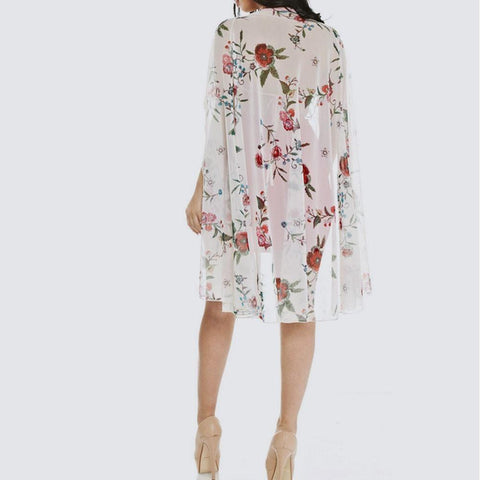 Plus Size Embroidered Cape Dress, White and Red