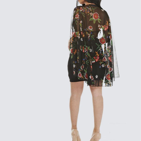 Plus Size Embroidered Cape Dress, Black