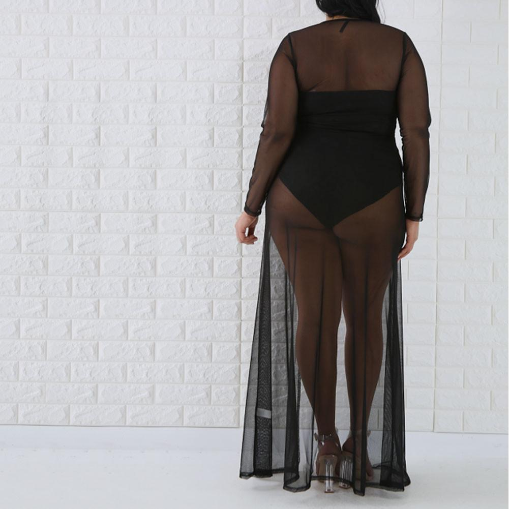 Posh Shoppe: Plus Size Sheer Mesh Maxi, Black Dress