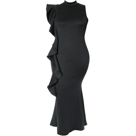 Plus Size Mock Neck Peep Dress, Black