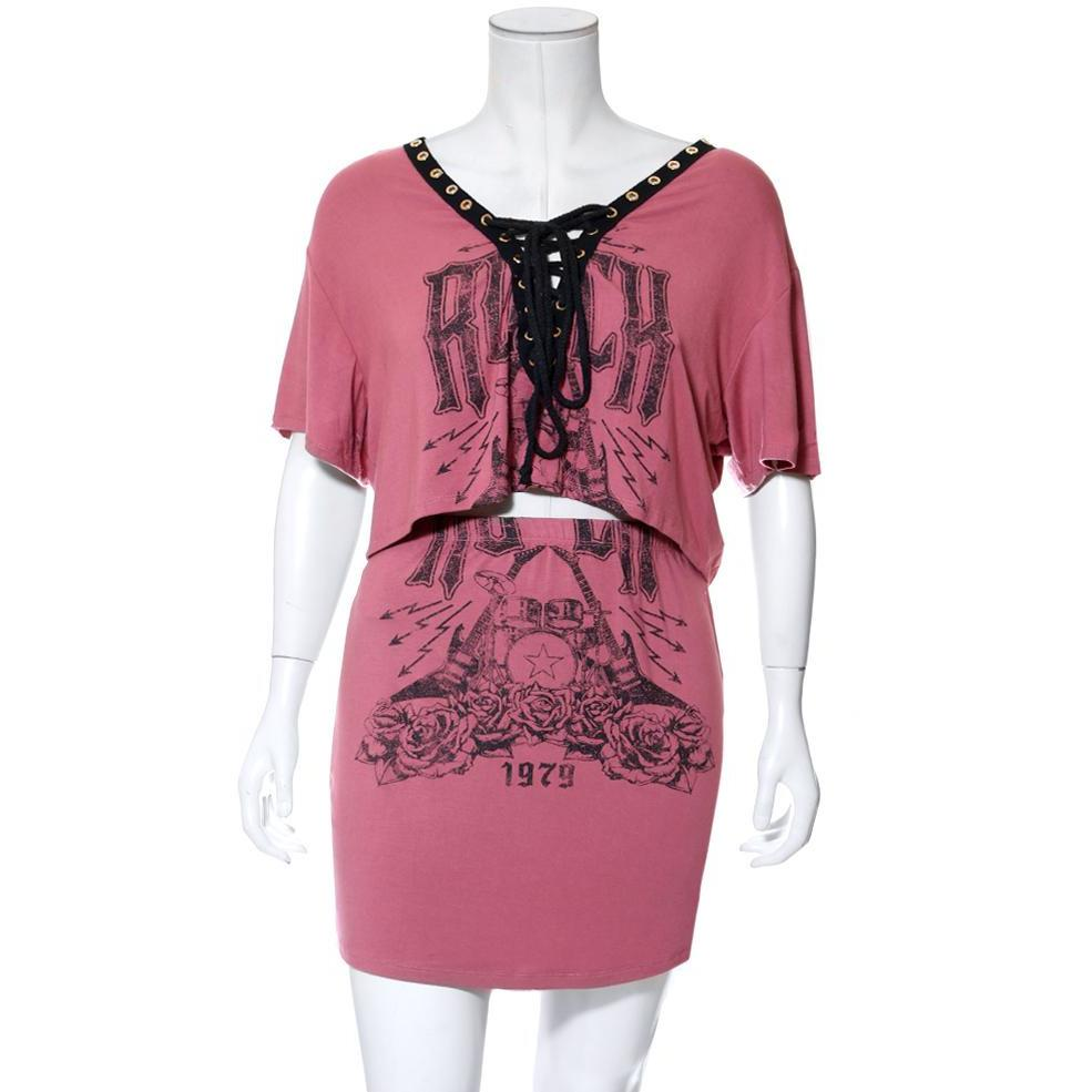 Posh Shoppe: Plus Size Lace Up Top & Mini Skirt Set, Dusty Pink 'Rock' Print Dress