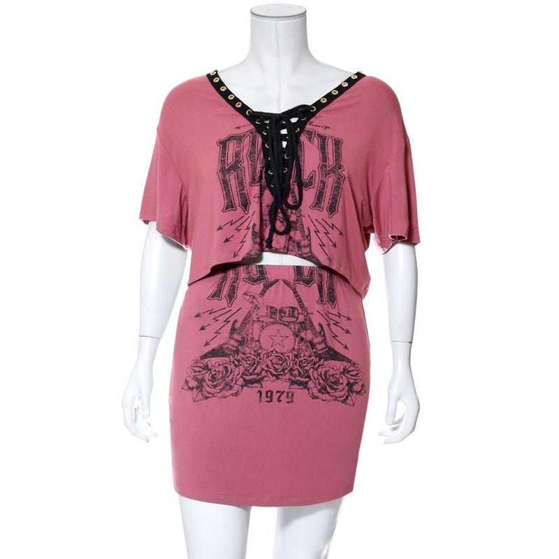 Plus Size Lace Up Top & Mini Skirt Set, Dusty Pink 'Rock' Print