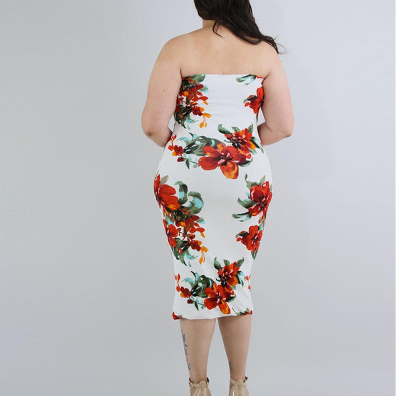 Posh Shoppe: Plus Size Strapless Midi Dress, Red Bouquet Print Dress