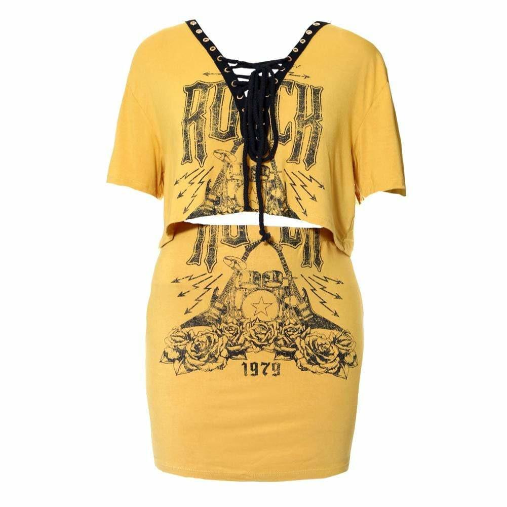Plus Size Lace Up Top & Mini Skirt Set, Mustard 'Rock' Print