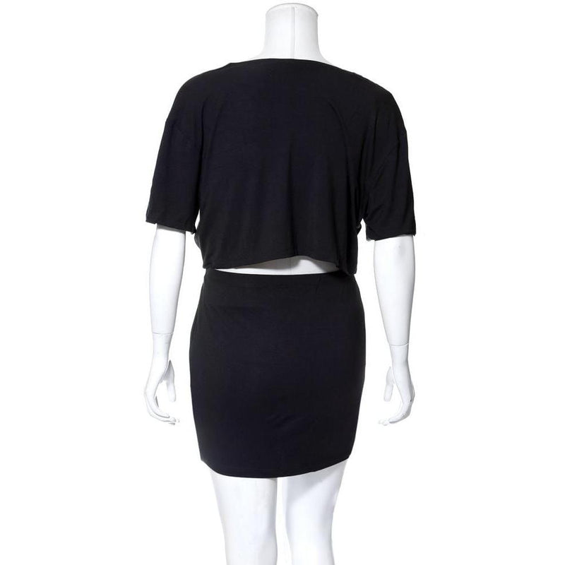 Posh Shoppe: Plus Size Lace Up Top & Mini Skirt Set, Black 'Rock' Print Dress
