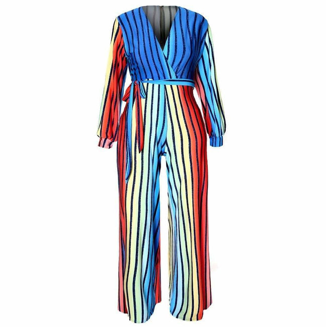 Plus Size Flared Jumpsuit, Disco Rainbow