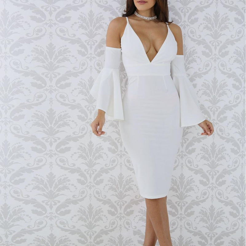 Posh Shoppe: Plus Size Cold Shoulder Bell Sleeve Dress, White Dress