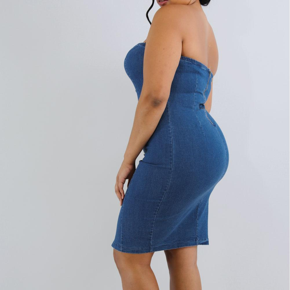 Posh Shoppe: Plus Size Strapless Denim Mini Dress Dress