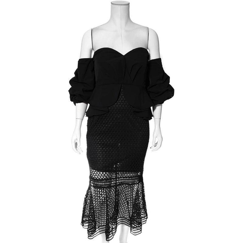 Posh Shoppe: Plus Size Puff Sleeve Peplum and Crochet Lace Overlay Dress, Black Dress