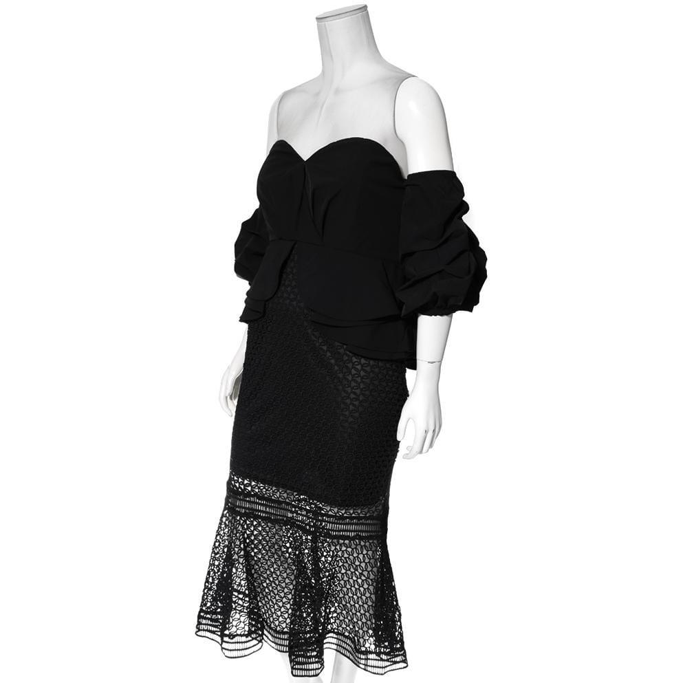 Plus Size Puff Sleeve Peplum and Crochet Lace Overlay Dress, Black