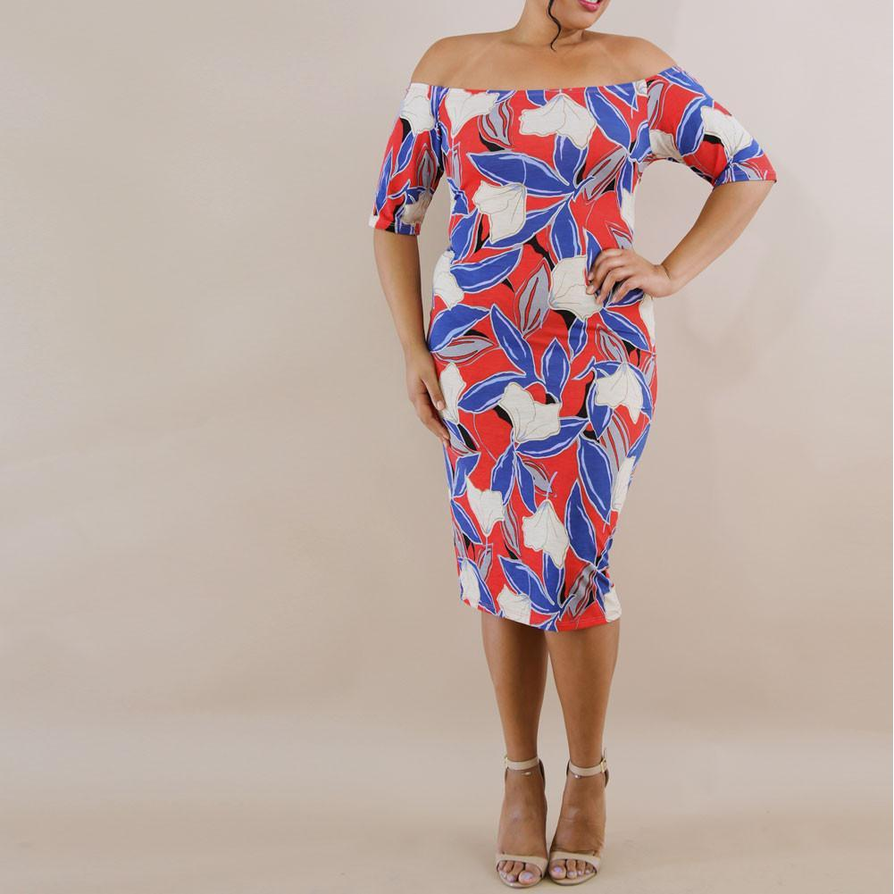 Posh Shoppe: Plus Size Off Shoulder Classic Midi Bodycon, Red, White & Blue Print Dress
