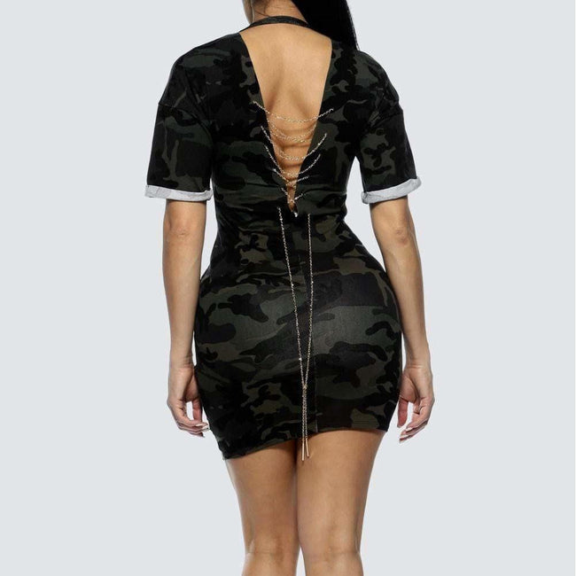 Posh Shoppe: Plus Size Chain Back Dress, Camo 'End of Story' Dress