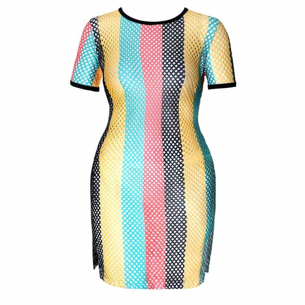 Plus Size Mesh Side Slit Dress, Reggae Print