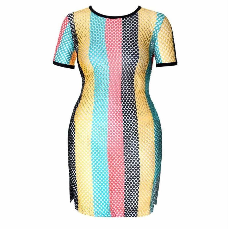 Posh Shoppe: Plus Size Mesh Side Slit Dress, Reggae Print Tops