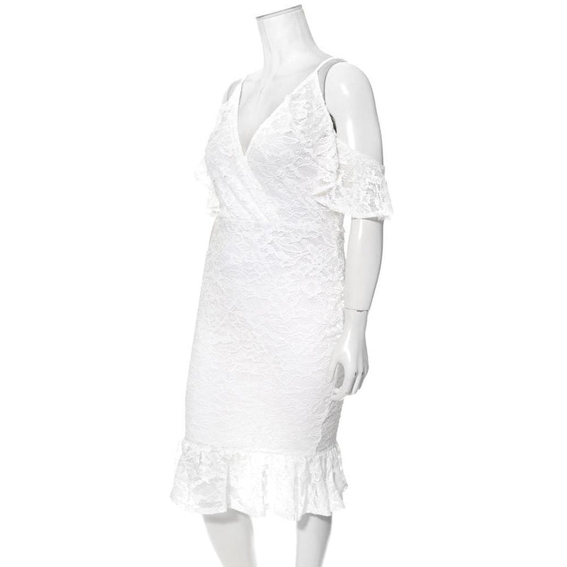 Posh Shoppe: Plus Size Cold Shoulder Lace Dress, White Dress