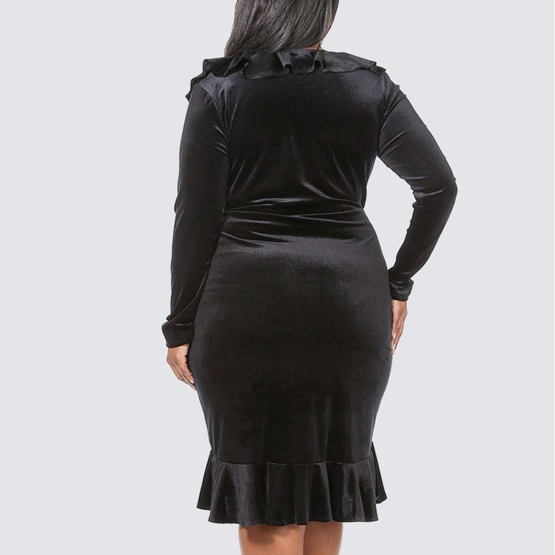Posh Shoppe: Plus Size Velvet Wrap Dress, Black Dress