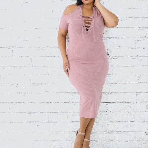 Plus Size Cold Shoulder Lace Up Ribbed Midi Dress, Dusty Rose
