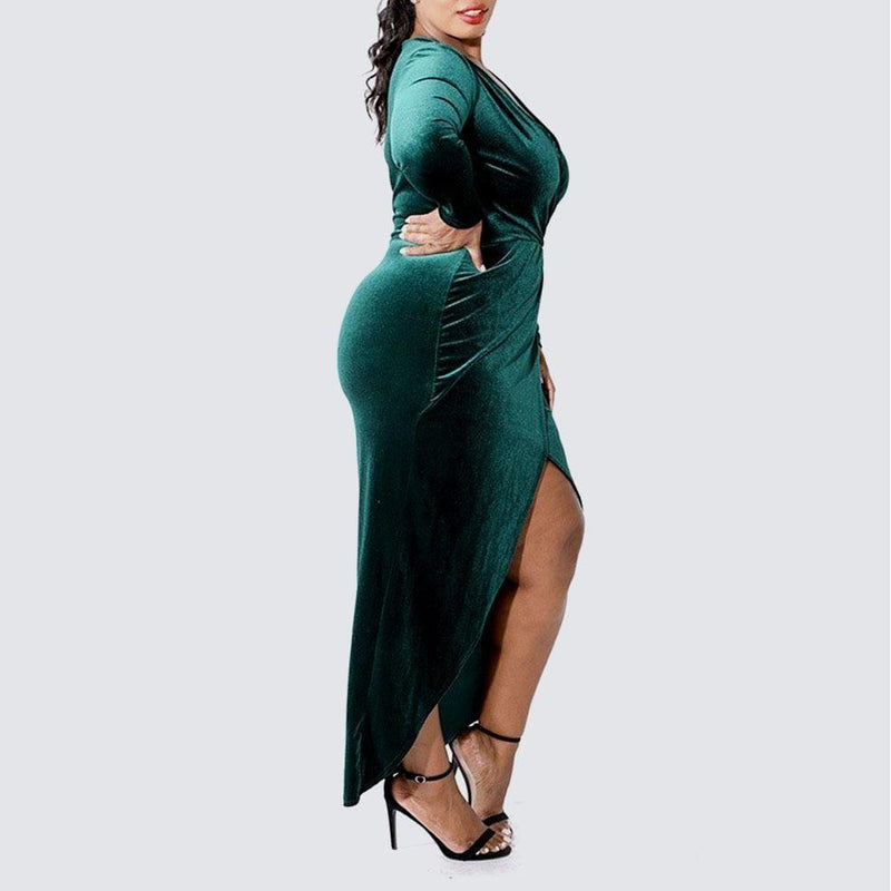 Posh Shoppe: Plus Size Velvet Maxi Dress with Center Slit, Emerald Dress