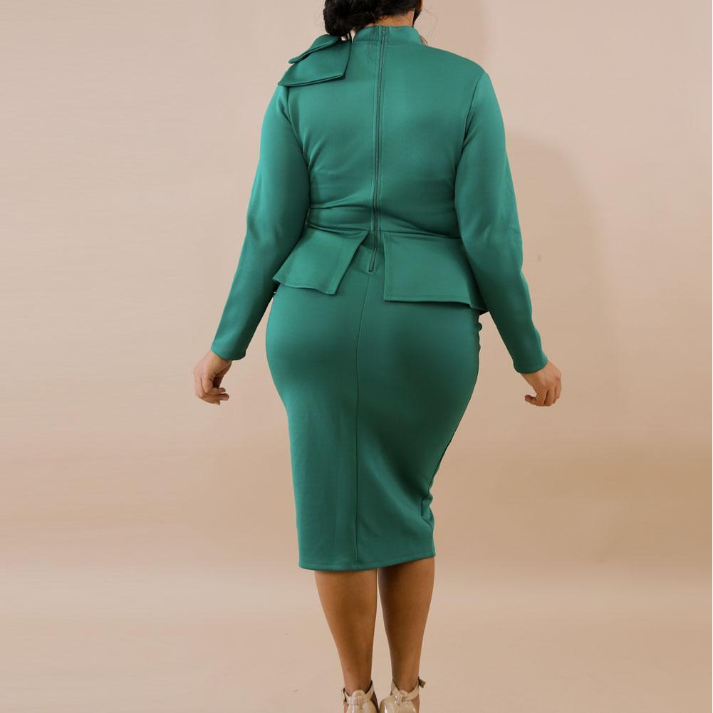 Plus Size Tie Neck Peplum Dress, Emerald Green