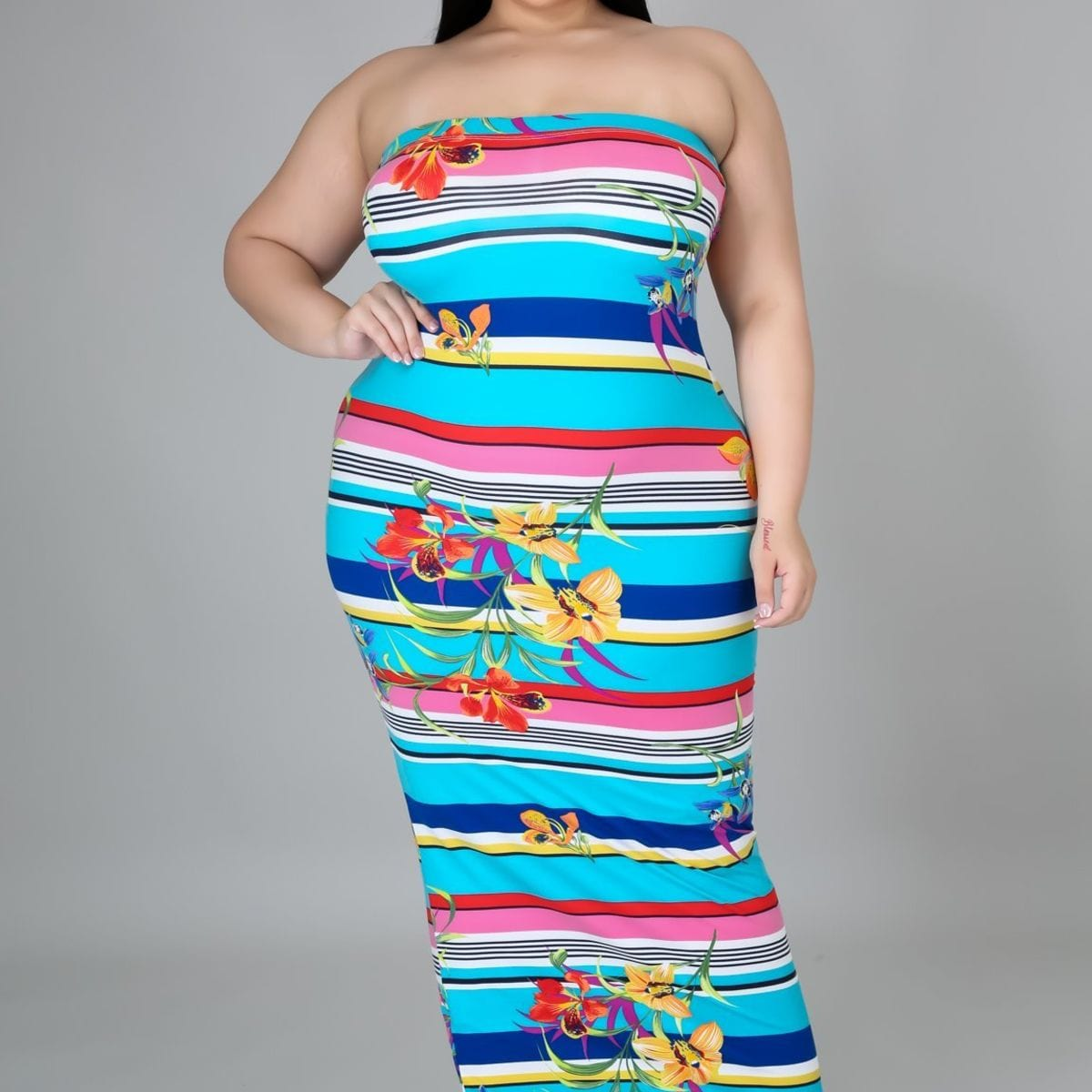Plus Size Strapless Dress - Posh Shoppe