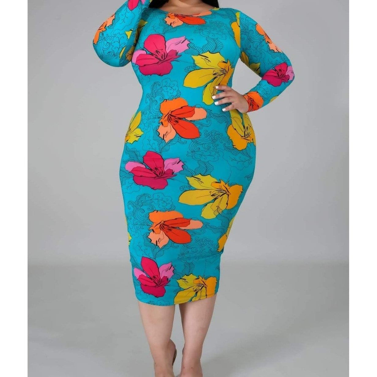 Posh Shoppe: Turquoise Flower Print Dress Dress
