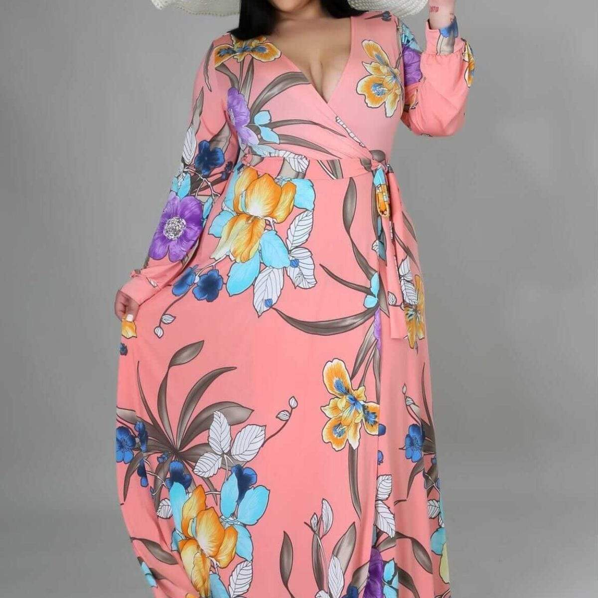Venechia Print Loose Long Dress - Posh Shoppe