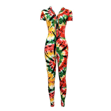 Posh Shoppe: Tie Dye Hoodie Front Zip Jumpsuit Bottoms