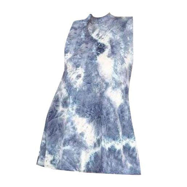 Posh Shoppe: Tie Dye Print sleeveless dress with mock neckline Dress