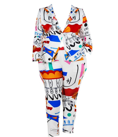 Art Party Print Plus Two-Piece Pants Set - Posh Shoppe