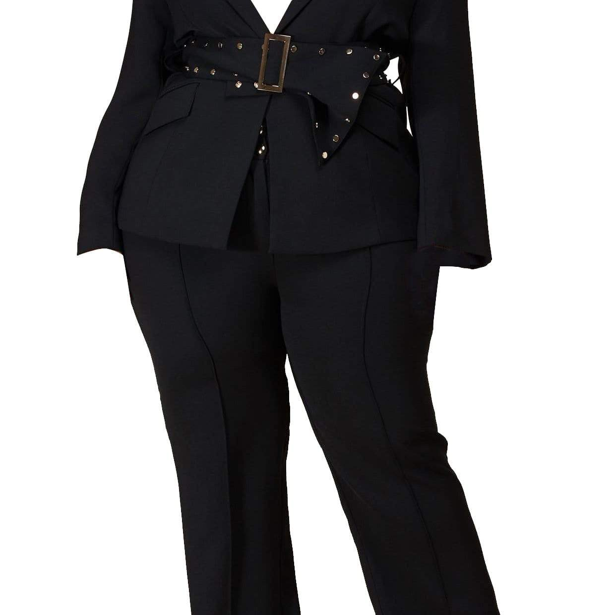 Black Blazer Pant Set - Posh Shoppe