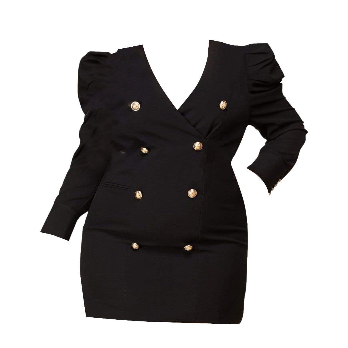 Blazer Mini Dress-Black - Posh Shoppe